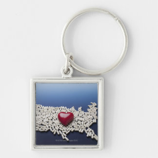 Map of USA made of pills with red heart Keychain