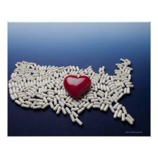 Map of USA made of pills with red heart Posters