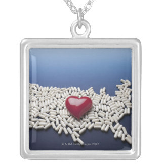 Map of USA made of pills with red heart Silver Plated Necklace