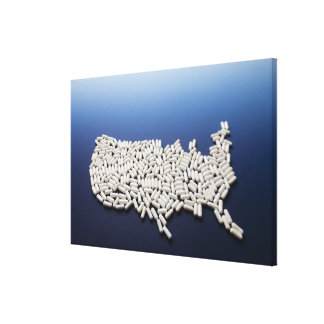 Map of USA made of white pills Canvas Print