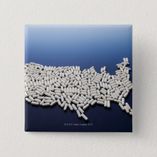 Map of USA made of white pills Pinback Button