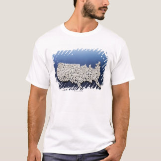 Map of USA made of white pills T-Shirt