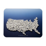 Map of USA made of white pills Vinyl Magnet