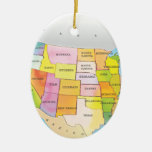 Map of USA States Double-Sided Oval Ceramic Christmas Ornament