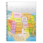 Map of USA States Spiral Note Books