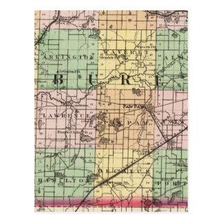 Map of Van Buren County, Michigan Postcard