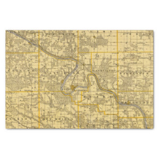 """Map of Van Buren County, State of Iowa 10"""" X 15"""" Tissue Paper"""