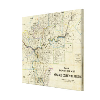 Map of Venango County Oil Regions Stretched Canvas Prints