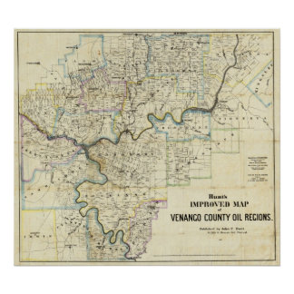Map of Venango County Oil Regions Posters