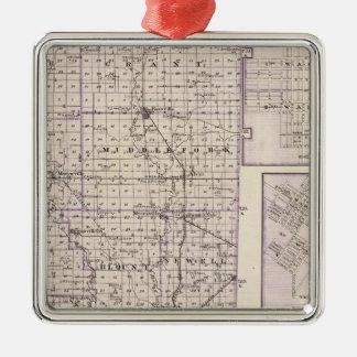 Map of Vermilion County, Mason City Metal Ornament
