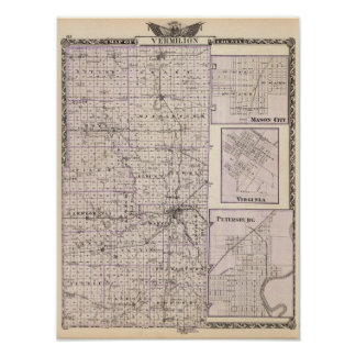 Map of Vermilion County, Mason City Poster