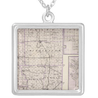 Map of Vermilion County, Mason City Silver Plated Necklace