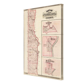 Map of Vermillion County with Newport Canvas Print