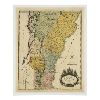 Map of Vermont by Carey 1814 Poster