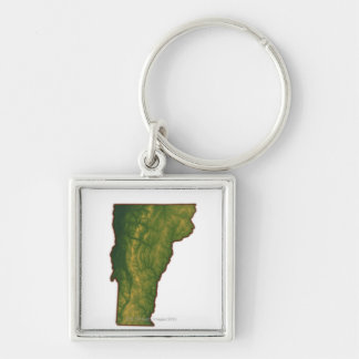 Map of Vermont Silver-Colored Square Keychain