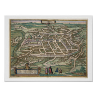 Map of Vilnius, Lithuania, from 'Civitates Orbis T Poster