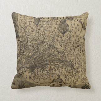 Map of Virginia by John Smith (1624) Throw Pillow