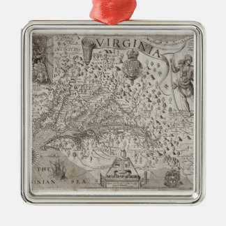 Map of Virginia, discovered and described by Capta Metal Ornament