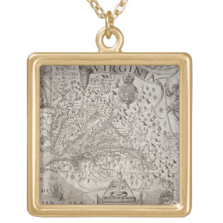 Map of Virginia, discovered and described by Capta Square Pendant Necklace
