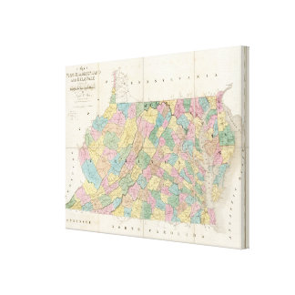 Map of Virginia, Maryland and Delaware Canvas Print