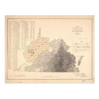 Map of Virginia Slave Population (1860) Postcard