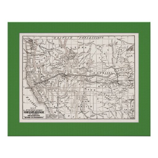 Map of W. States &Trans Pacific RR,1867- Gr Mat Poster