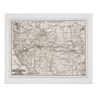 Map of W. States &Trans Pacific RR,1867- White Poster