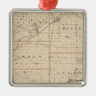 Map of Wabash County Square Metal Christmas Ornament
