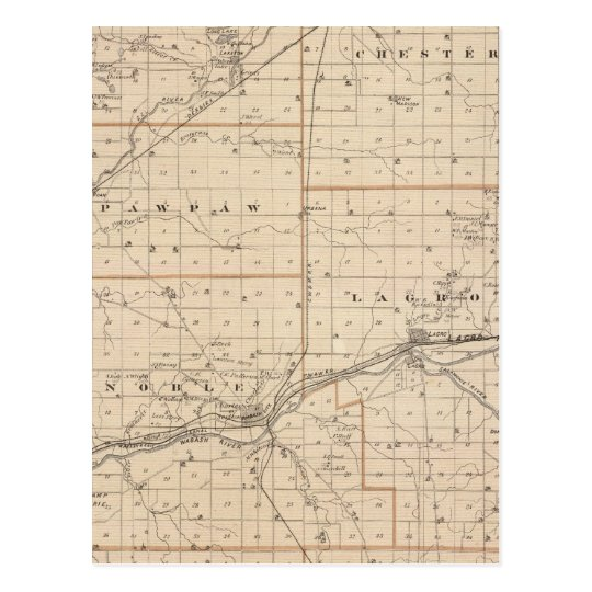 Map of Wabash County Postcard