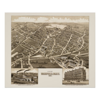 Map of Wakefield, Mass from 1882 Poster