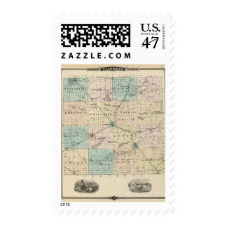 Map of Walworth County, State of Wisconsin Postage