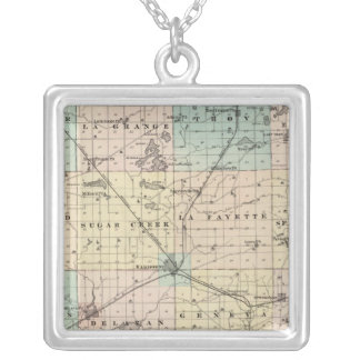 Map of Walworth County, State of Wisconsin Silver Plated Necklace