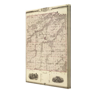 Map of Warren County, State of Iowa Canvas Print