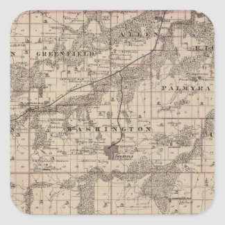 Map of Warren County, State of Iowa Square Stickers