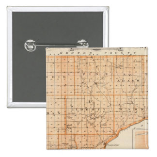 Map of Warren County with Plan of West Lebanon 2 Inch Square Button