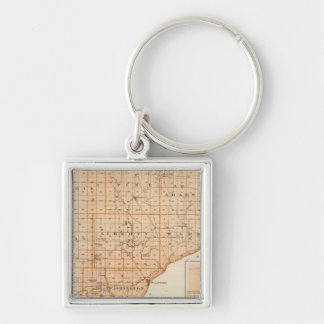 Map of Warren County with Plan of West Lebanon Silver-Colored Square Keychain