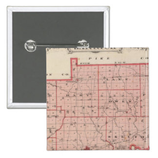 Map of Warrick County 2 Inch Square Button