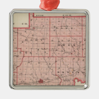 Map of Warrick County Square Metal Christmas Ornament