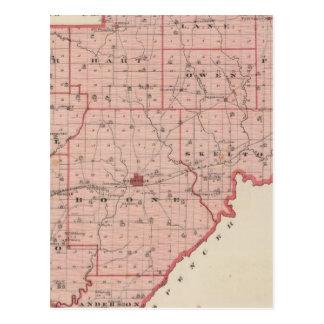 Map of Warrick County Postcard