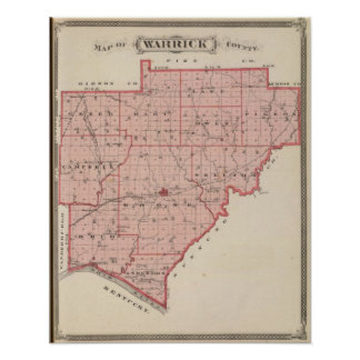 Map of Warrick County Poster