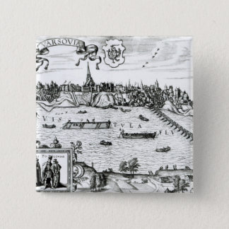 Map of Warsaw, from 'Civitates Orbis Terrarum' by Pinback Button