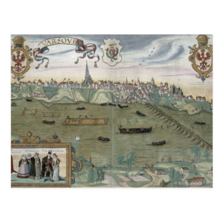 Map of Warsaw, from 'Civitates Orbis Terrarum' by Postcard