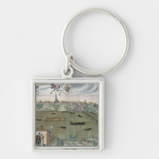 Map of Warsaw, from 'Civitates Orbis Terrarum' by Silver-Colored Square Keychain