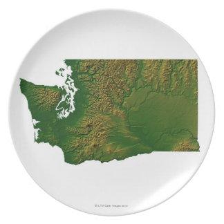 Map of Washington 3 Melamine Plate