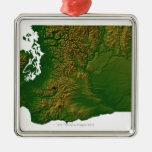 Map of Washington 3 Square Metal Christmas Ornament