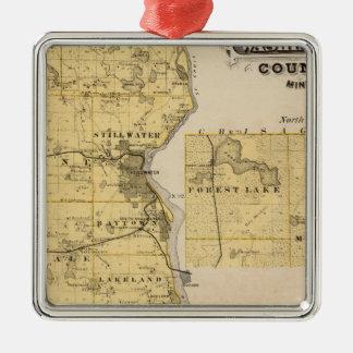 Map of Washington County, Minnesota Metal Ornament