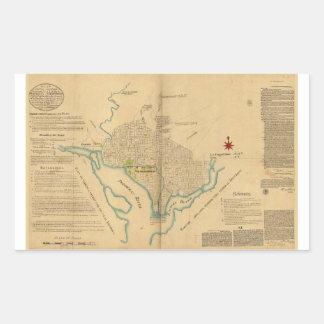 Map of Washington D.C. (1791) Rectangular Sticker