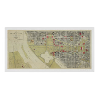 Map of Washington DC and the Mall 1917 Poster