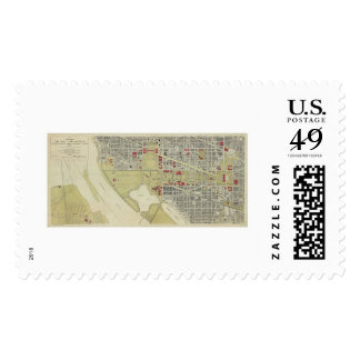 Map of Washington DC and the Mall 1917 Stamp