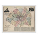 Map of Washington DC Suburbs by Clements 1891 Poster